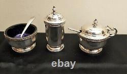 Adie Brothers Silver Cruet Set Birmingham 1930 Salt, Pepper Mustard Cased
