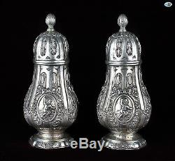 Adorable Large Vintage Pair of Silver Repoussé Salt & Pepper Shakers with Angels