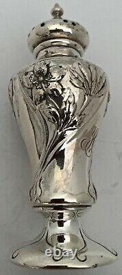 American Art Nouveau Reed Barton Poppy Pattern Sterling Salt Pepper Shakers 1905