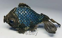 Antique 1920s Chinese Silver Filigree Fish Salt and Pepper Shakers AS-IS