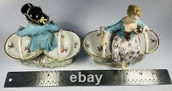 Antique 19th C. Meissen Porcelain Figural Couple on Baskets Salt & Pepper Dishes