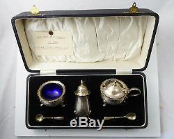 Antique Art Deco Sterling Silver Boxed Cruet Set Salt, Pepper, Mustard