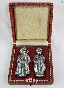 Antique Boxed 800 Silver Pair of Dutch Girl and Boy Salt & Pepper Shakers