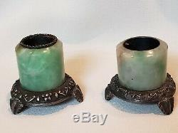 Antique Chinese Jade Silver Mounted Salt Pepper Archers Ring