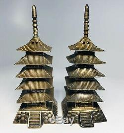 Antique Chinese Sterling Silver Salt and Pepper Shakers in Pagoda Style