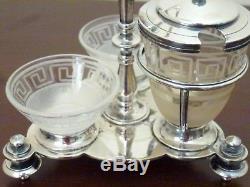Antique Christofle Silverplated / Crystal Salt, Pepper & Mustard Server