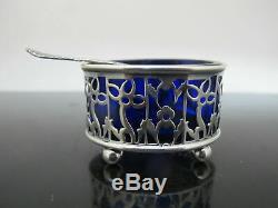 Antique GORHAM & Webster STERLING Silver Blue Glass Salt Pepper Sugar & Tray Set