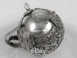 Antique Indian Solid Silver Open Salt, Pepper & Mustard Pot Cruet Set circa 1895