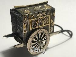 Antique Japanese Gold Plated Sterling Silver Niello Salt & Pepper Rickshaw Set
