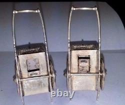 Antique Japanese Sterling Figural WAGON Salt & Pepper Shakers 2.5 X 1.5