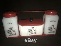 Antique Mckee Milk Glass Salt & Pepper Shakers Grease Jar Range Set with Rack