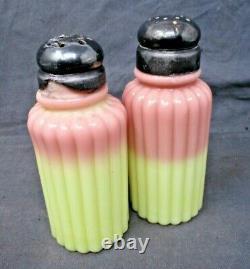 Antique Mt. Washington BURMESE Art Glass Salt & Pepper Shakers withSilverplate Lid