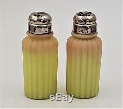 Antique Mt. Washington Salt & Pepper Shakers Ribbed Burmese Glass Satin Finish