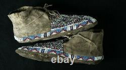 Antique Native American Salt and Pepper Mocassins Sioux Lakota 1870-90