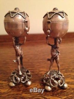 Antique Silver Cherub Condiments Salt Pepper Balsamide Russian Judica H11cm