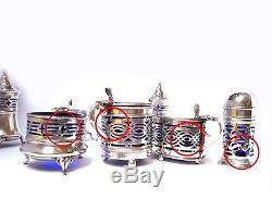 Antique Silver Cruet Set Mustard Pot Salt Pepper Caster 1898-1931 Birningham