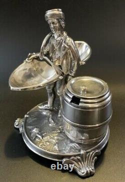 Antique Silver Figural Condiment Stand Austria Salt & Pepper with Mustard Pot