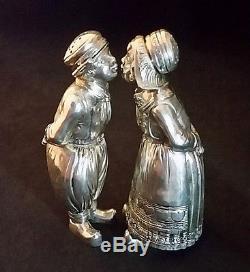 Antique Silver Salt Pepper Shakers Figural Dutch Boy Girl Kissing 800 8.3oz 4.2