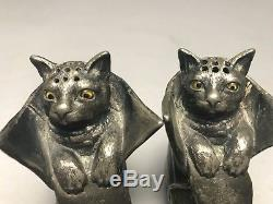 Antique Spelter Pewter Puss And Boots Cat Salt Pepper Shakers Glass Eyes