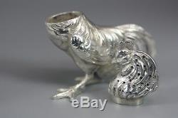 Antique Sterling 800 Silver Roosters Salt & Pepper Shakers Novelty Cruet Set