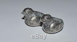Antique Sterling Silver Birds Salt And Pepper Set