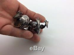 Antique Sterling Silver Figural Mr. & Mrs. Chicken Salt & Pepper Shakers