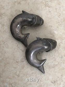 Antique Sterling Silver Fish Salt & Pepper Shakers J. Tostrup Oslo Norway