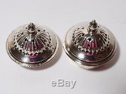 Antique Victorian Urn Shaped Sterling Silver Salt Pepper Shakers 1895 60gms