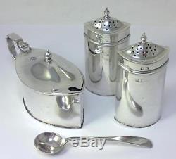 Antique hallmarked Silver Cruet Set (Mustard Pot & Salt/Pepper Shakers) 1914