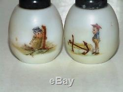 Antique rare Mt Washington PALMER COX BROWNIE salt pepper shakers