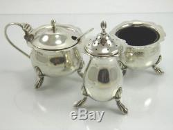 Antique sterling silver 3 piece salt pepper & mustard pot cruet Birmingham 1934