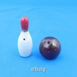 Arcadia Ceramics BOWLING PIN & BALL Vintage Miniature Salt & Pepper Shaker RARE