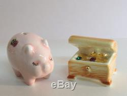 Arcadia Miniature PIGGY BANK & JEWEL BOX Salt & Pepper Shakers Mini
