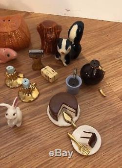 Arcadia Miniature Salt & Pepper shakers California Pottery Bunny Cake Slice Jam