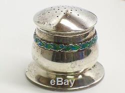 Archibald Knox Liberty & Co. Sterling Silver Enamel Salt Pepper Mustard Pot Set