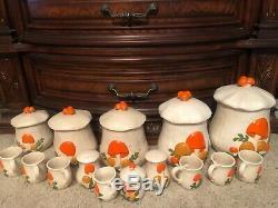 Arnels Vintage 70s Mushrooms 20 Piece Canister, Salt Pepper, Sugar Creamer Cups