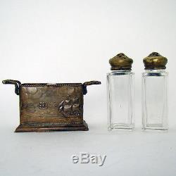 Arts & Crafts Salt & Pepper Shakers with Nautical Bronze/Brass Holder 1910