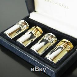 Auth Tiffany&Co. Sterling Silver 925 Salt Pepper Shaker Case 4P Set 12952bkac