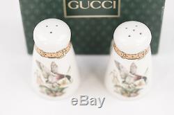 Authentic GUCCI VINTAGE White Porcelain SALT & PEPPER SHAKERS Set Flying Duck