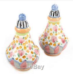 Authentic MACKENZIE CHILDS TAYLOR CABBAGE ROSE Salt & Pepper Shaker Set Ret $150