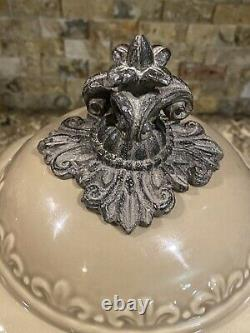 BEAUTIFUL Drake Design Taupe Tuscan Scroll Canister/Salt/Pepper Set Ceramic