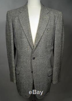 BELTED BACK Salt Pepper Wool Tweed Sport Coat Jacket True 1930s Vintage 44