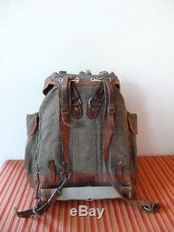 BIG Vintage Swiss Army Military Backpack Rucksack 1946 CH Canvas Salt & Pepper