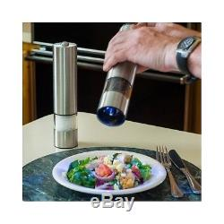 Battery Salt Pepper Spice Mill One Touch Powered Brushed Stainless Steel New