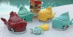Bauer California Pottery Chicken Of The Sea 4 Tuna Bakers withRacks Salt & Pepper