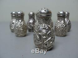 Beautiful Set/8 Sterling Silver Repousse Individual Salt & Pepper Shakers