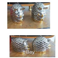 Beautiful Vintage GUCCI Gold & Platinum Glaze Rhinoceros Salt & Pepper Shakers