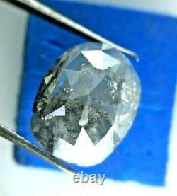 Big Salt Pepper Diam Natural Diamond Real Diamond 4.28TCW Oval Rose Cut for Gift