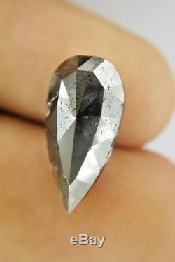 Big Salt and Pepper Pear Full cut Natural Diamond 5.35 TCW 16.5 x 8.5 x 4.9 MM