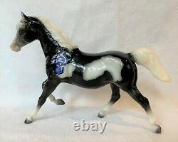 Breyer Vintage Club Salt and Pepper #712064, black pinto Running Mare and Foal